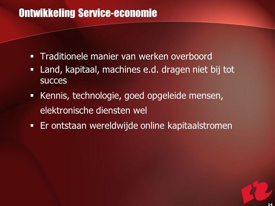 Ontwikkeling Service-economie  Traditionele manier van werken overboord  Land, kapitaal, machines e.d.