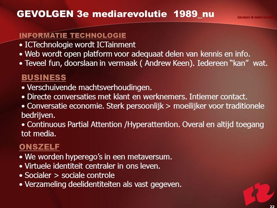 GEVOLGEN 3e mediarevolutie 1989_nu INFORMATIE TECHNOLOGIE ICTechnologie wordt ICTainment Web wordt open platform voor adequaat delen van kennis en info.