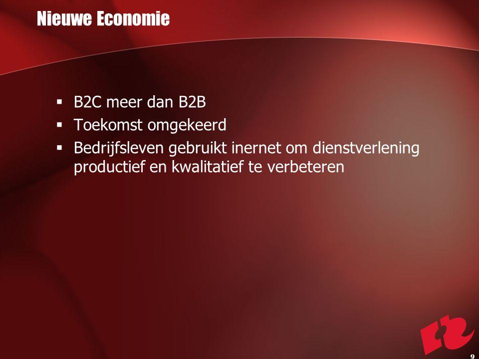 Nieuwe Economie  B2C meer dan B2B  Toekomst omgekeerd  Bedrijfsleven gebruikt inernet om dienstverlening productief en kwalitatief te verbeteren 9