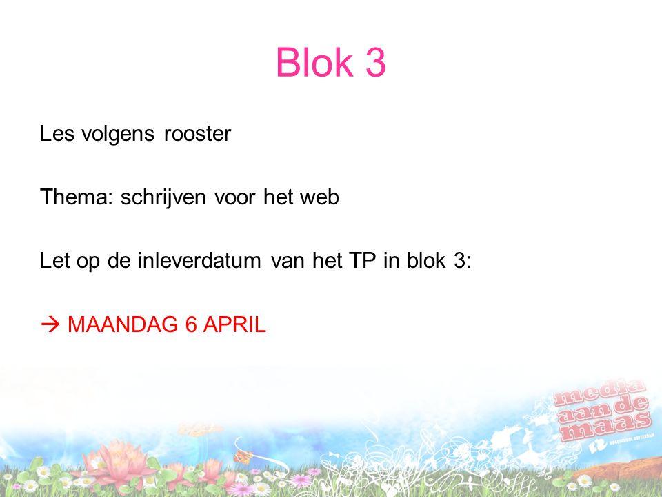 Blok 3 Les volgens rooster Thema: schrijven voor het web Let op de inleverdatum van het TP in blok 3:  MAANDAG 6 APRIL