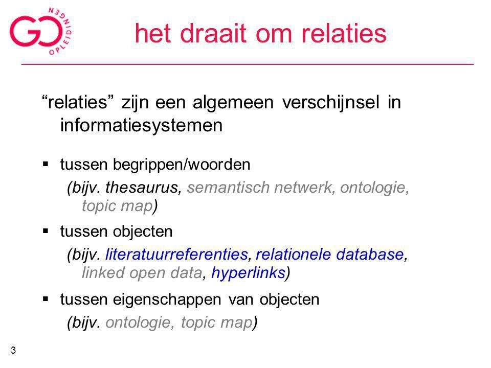 """het draait om relaties """"relaties"""" zijn een algemeen verschijnsel in informatiesystemen  tussen begrippen/woorden (bijv. thesaurus, semantisch netwerk"""