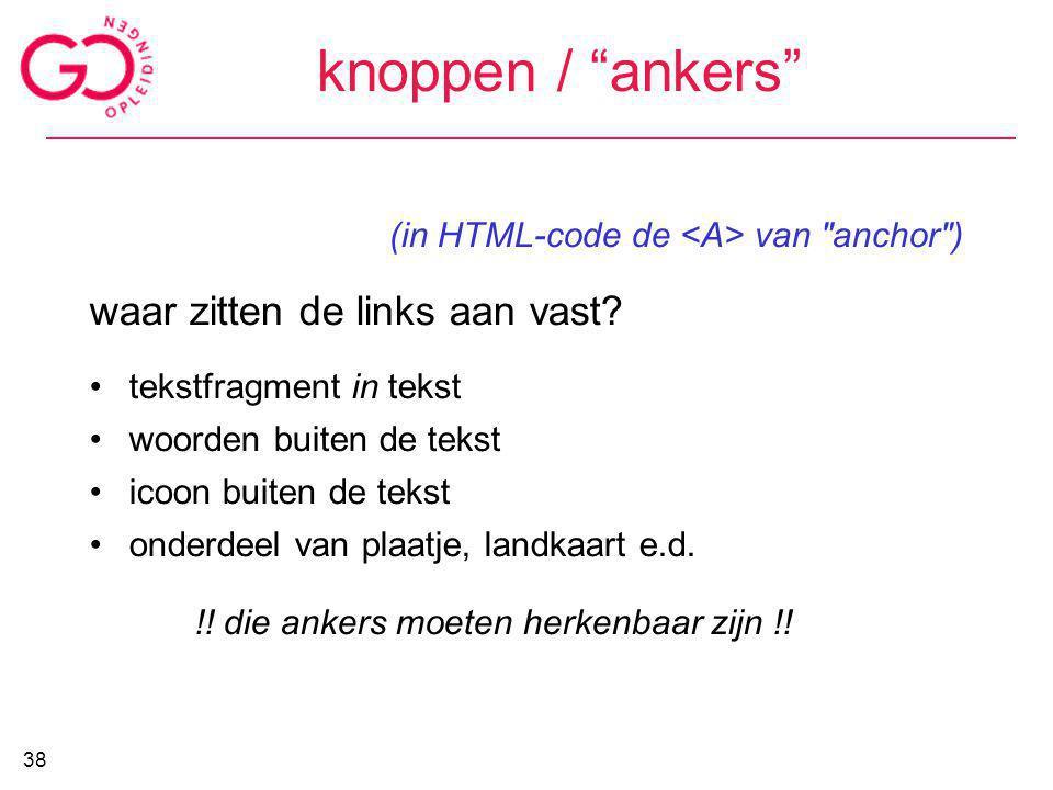 """knoppen / """"ankers"""" (in HTML-code de van"""