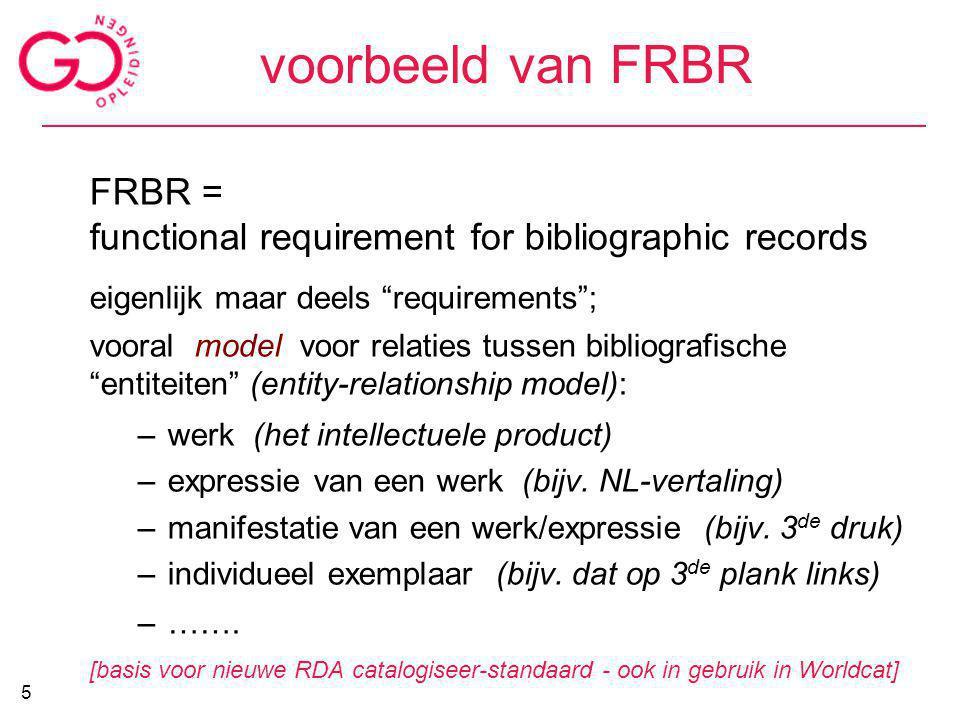 """voorbeeld van FRBR FRBR = functional requirement for bibliographic records eigenlijk maar deels """"requirements""""; vooral model voor relaties tussen bibl"""