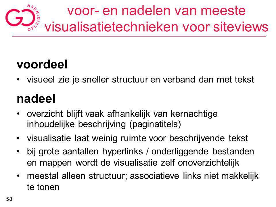 voor- en nadelen van meeste visualisatietechnieken voor siteviews voordeel visueel zie je sneller structuur en verband dan met tekst nadeel overzicht
