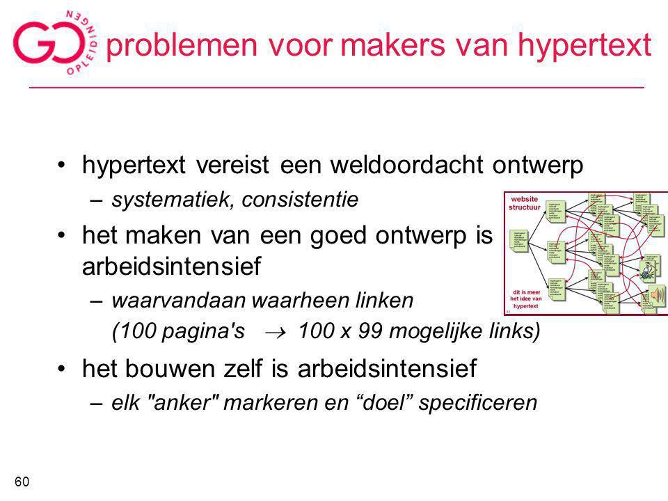 problemen voor makers van hypertext hypertext vereist een weldoordacht ontwerp –systematiek, consistentie het maken van een goed ontwerp is arbeidsint