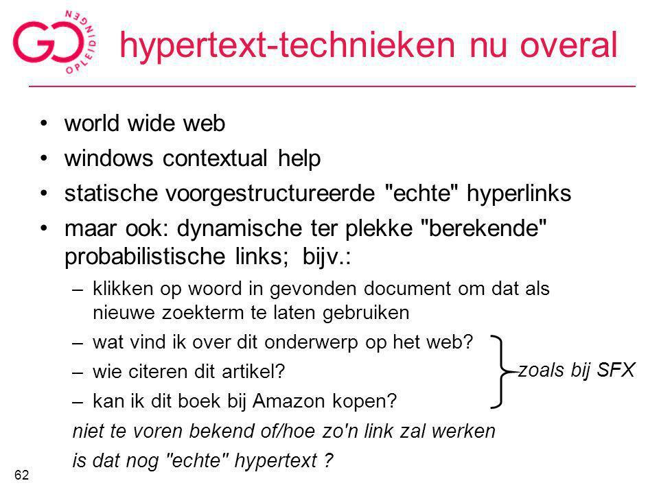 hypertext-technieken nu overal world wide web windows contextual help statische voorgestructureerde