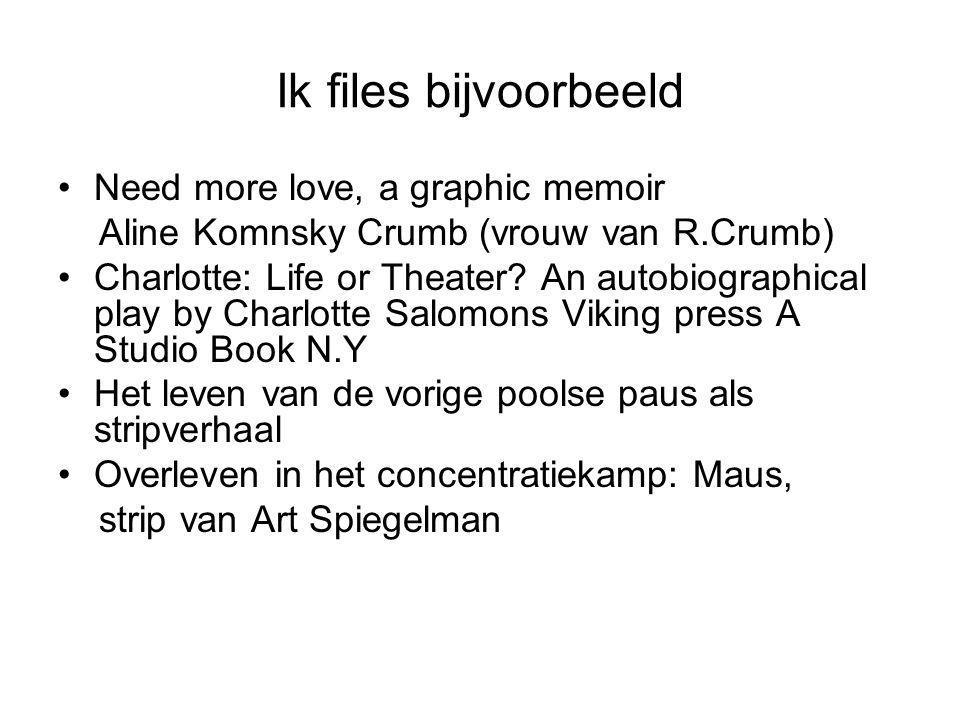 Ik files bijvoorbeeld Need more love, a graphic memoir Aline Komnsky Crumb (vrouw van R.Crumb) Charlotte: Life or Theater.