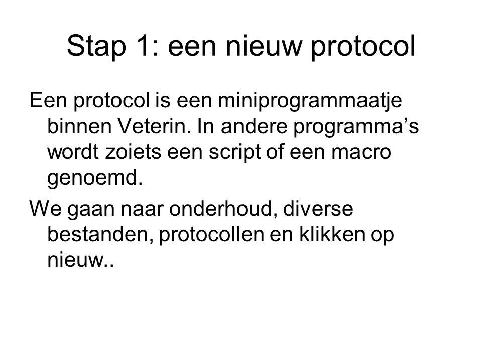 Stap 1: een nieuw protocol Een protocol is een miniprogrammaatje binnen Veterin. In andere programma's wordt zoiets een script of een macro genoemd. W
