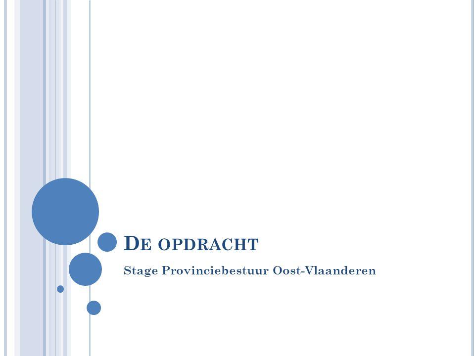 D E OPDRACHT Stage Provinciebestuur Oost-Vlaanderen