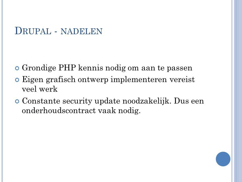 D RUPAL - NADELEN Grondige PHP kennis nodig om aan te passen Eigen grafisch ontwerp implementeren vereist veel werk Constante security update noodzake