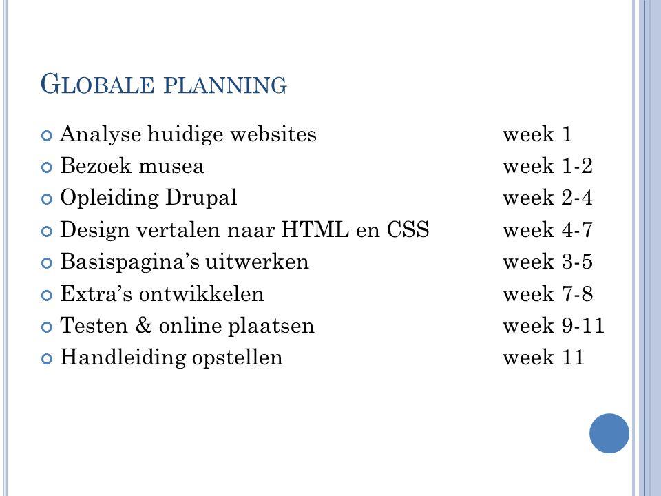 G LOBALE PLANNING Analyse huidige websitesweek 1 Bezoek musea week 1-2 Opleiding Drupal week 2-4 Design vertalen naar HTML en CSS week 4-7 Basispagina's uitwerken week 3-5 Extra's ontwikkelen week 7-8 Testen & online plaatsen week 9-11 Handleiding opstellen week 11