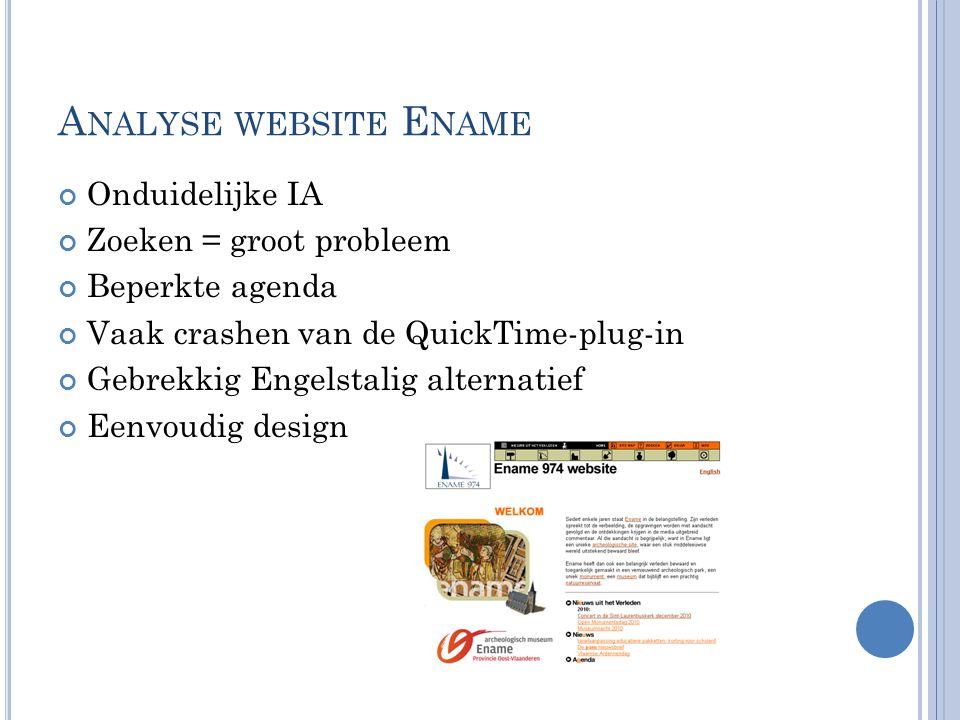 A NALYSE WEBSITE E NAME Onduidelijke IA Zoeken = groot probleem Beperkte agenda Vaak crashen van de QuickTime-plug-in Gebrekkig Engelstalig alternatie
