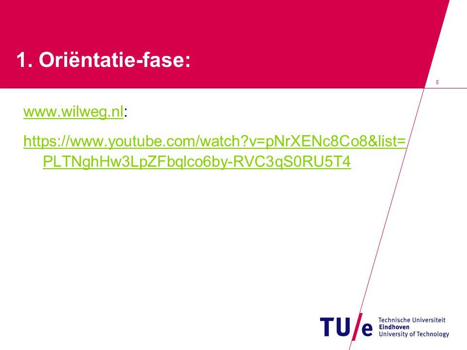 6 1. Oriëntatie-fase: www.wilweg.nlwww.wilweg.nl: https://www.youtube.com/watch?v=pNrXENc8Co8&list= PLTNghHw3LpZFbqlco6by-RVC3qS0RU5T4
