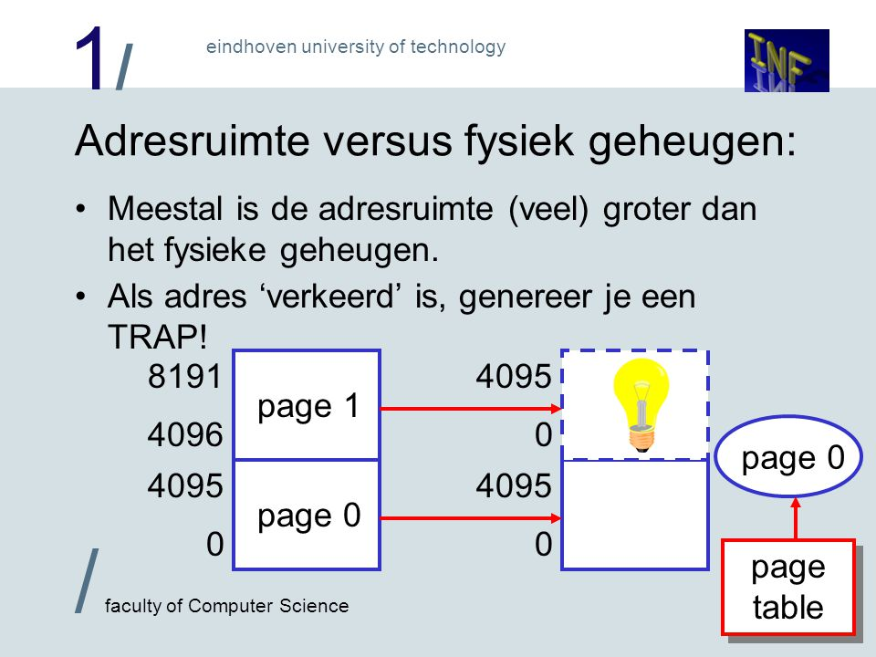 1/1/ / faculty of Computer Science eindhoven university of technology Idee Paging: Verdeel adresruimte in pagina's Koppel pagina's aan geheugen via 'page table' Als een adres gebruikt wordt dat niet aan fysiek geheugen is gekoppeld, genereer een TRAP.