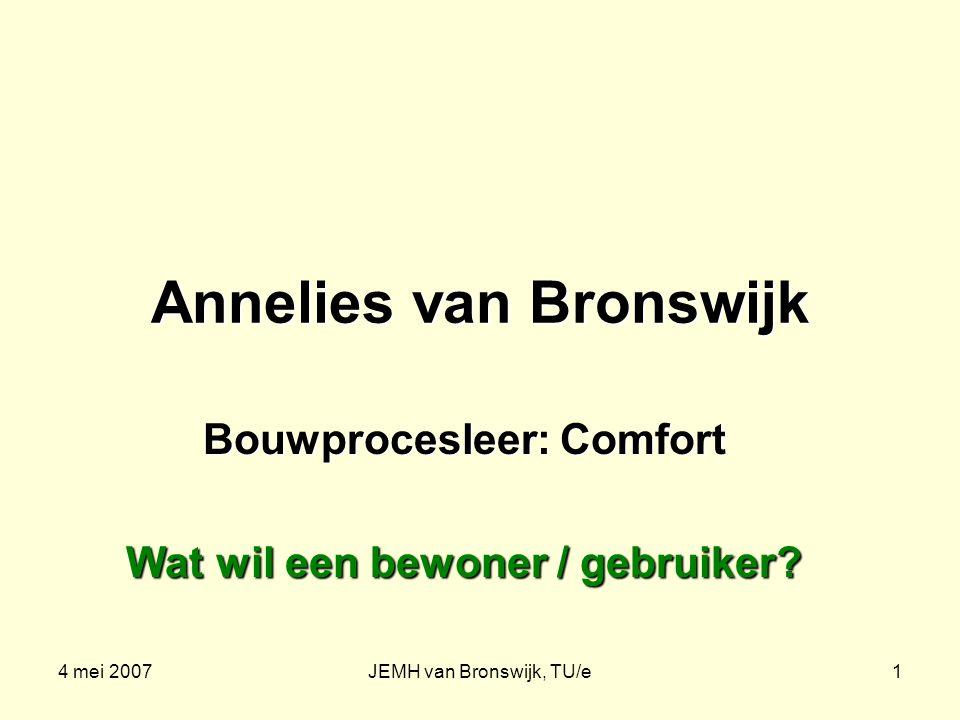 4 mei 2007JEMH van Bronswijk, TU/e1 Annelies van Bronswijk Bouwprocesleer: Comfort Wat wil een bewoner / gebruiker?