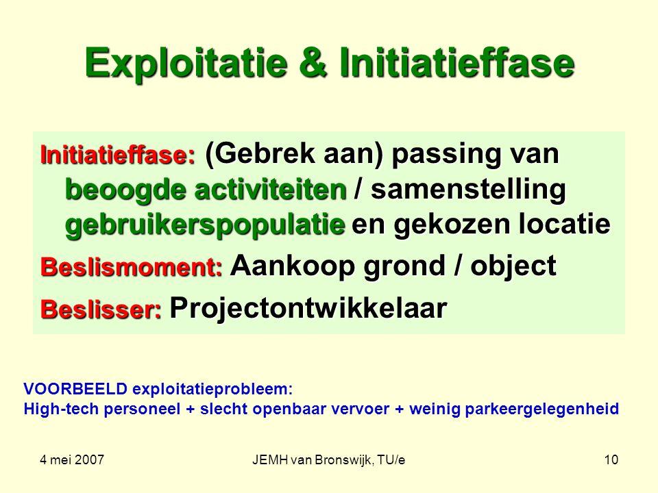 4 mei 2007JEMH van Bronswijk, TU/e10 Exploitatie & Initiatieffase Initiatieffase: (Gebrek aan) passing van beoogde activiteiten / samenstelling gebruikerspopulatie en gekozen locatie Beslismoment: Aankoop grond / object Beslisser: Projectontwikkelaar VOORBEELD exploitatieprobleem: High-tech personeel + slecht openbaar vervoer + weinig parkeergelegenheid