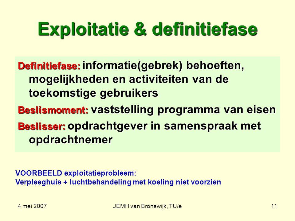 4 mei 2007JEMH van Bronswijk, TU/e11 Exploitatie & definitiefase Definitiefase: informatie(gebrek) behoeften, mogelijkheden en activiteiten van de toe