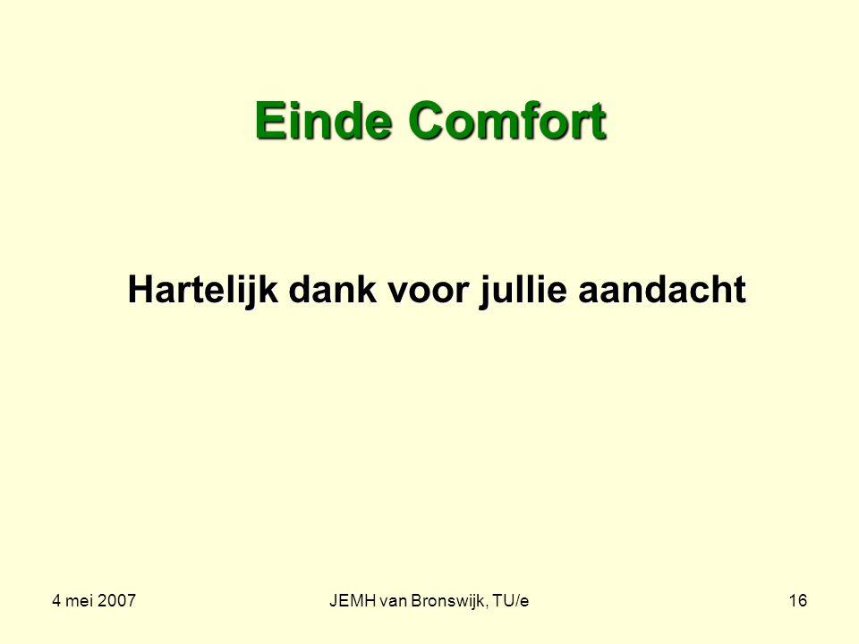 4 mei 2007JEMH van Bronswijk, TU/e16 Einde Comfort Hartelijk dank voor jullie aandacht