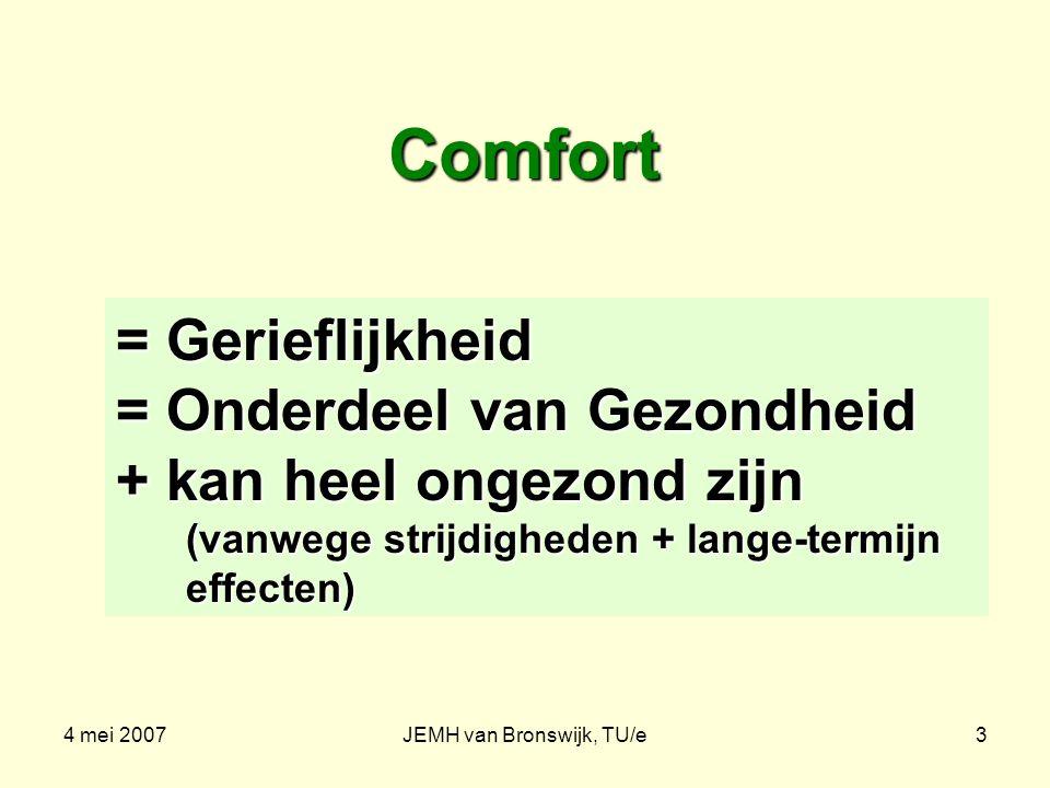 4 mei 2007JEMH van Bronswijk, TU/e3 Comfort = Gerieflijkheid = Onderdeel van Gezondheid + kan heel ongezond zijn (vanwege strijdigheden + lange-termijn effecten)