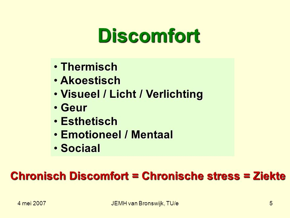 4 mei 2007JEMH van Bronswijk, TU/e6 Discomfort telt op Als: Thermisch = T; Akoestisch = A; Als: Thermisch = T; Akoestisch = A; Visueel / Licht / Verlichting = V; Geur = G; Esthetisch = E; Emotioneel / Mentaal = M; Sociaal = S Waarbij: L is de persoonlijke discomfort-limiet Dan geldt voor de algemene comfort-situatie: T/L T + A/L A + V/L V + G/L G + E/L E + M/L M +S/ LS < 1