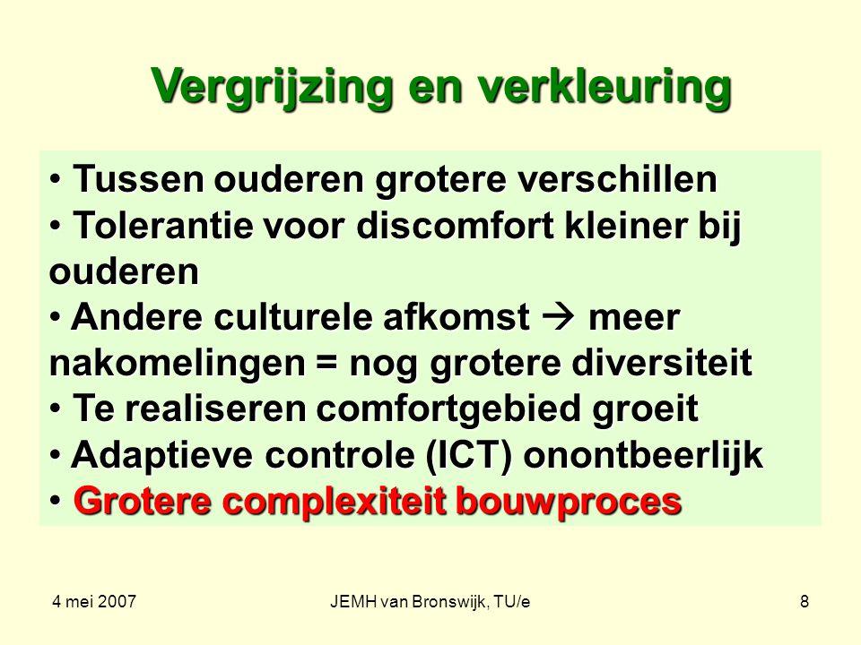 4 mei 2007JEMH van Bronswijk, TU/e8 Vergrijzing en verkleuring Tussen ouderen grotere verschillen Tussen ouderen grotere verschillen Tolerantie voor d