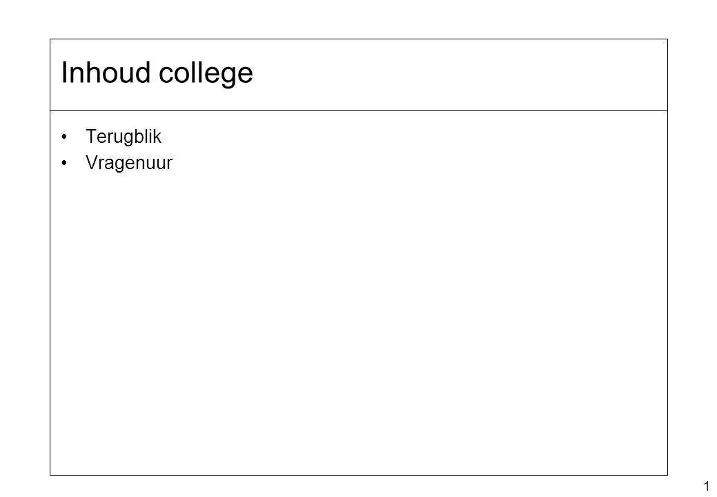 1 Inhoud college Terugblik Vragenuur