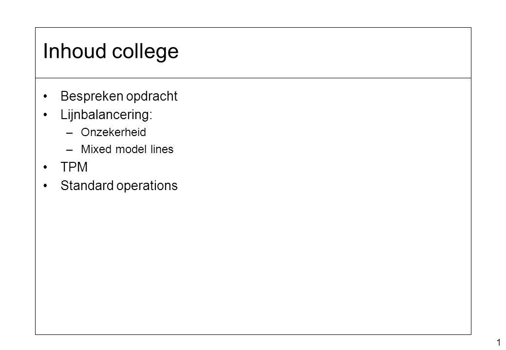 1 Bespreken opdracht Lijnbalancering: –Onzekerheid –Mixed model lines TPM Standard operations Inhoud college