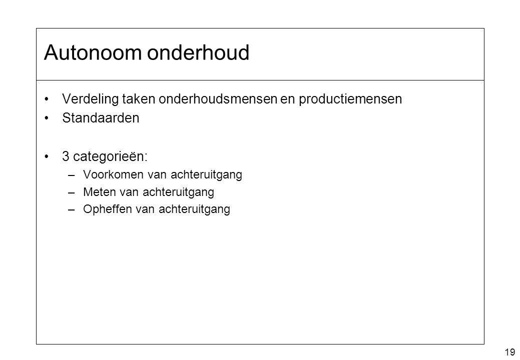 19 Autonoom onderhoud Verdeling taken onderhoudsmensen en productiemensen Standaarden 3 categorieën: –Voorkomen van achteruitgang –Meten van achteruit