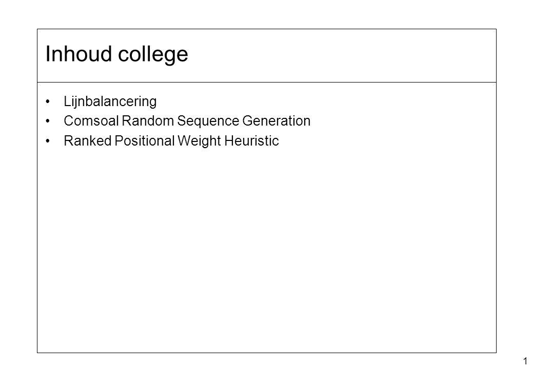 1 Lijnbalancering Comsoal Random Sequence Generation Ranked Positional Weight Heuristic Inhoud college
