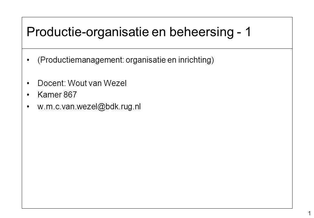 1 Productie-organisatie en beheersing - 1 (Productiemanagement: organisatie en inrichting) Docent: Wout van Wezel Kamer 867 w.m.c.van.wezel@bdk.rug.nl
