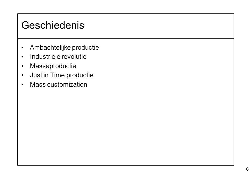 17 Lijnproductie Het maken van een product wordt uitgesplitst in taken Taken worden uitgevoerd in werkstations In een werkstation worden steeds dezelfde taken uitgevoerd Vormen –Continu productie / Paced / Unpaced –Buffers –Mixed Model lijnen