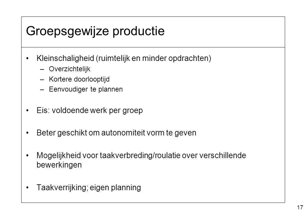 17 Groepsgewijze productie Kleinschaligheid (ruimtelijk en minder opdrachten) –Overzichtelijk –Kortere doorlooptijd –Eenvoudiger te plannen Eis: voldo