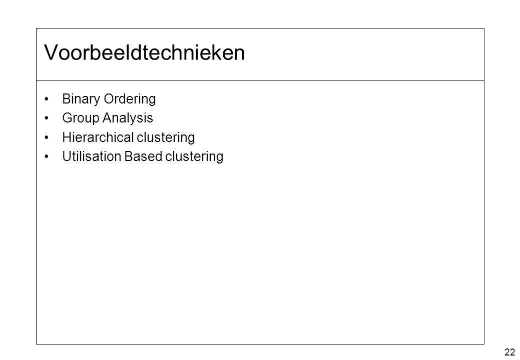 22 Voorbeeldtechnieken Binary Ordering Group Analysis Hierarchical clustering Utilisation Based clustering