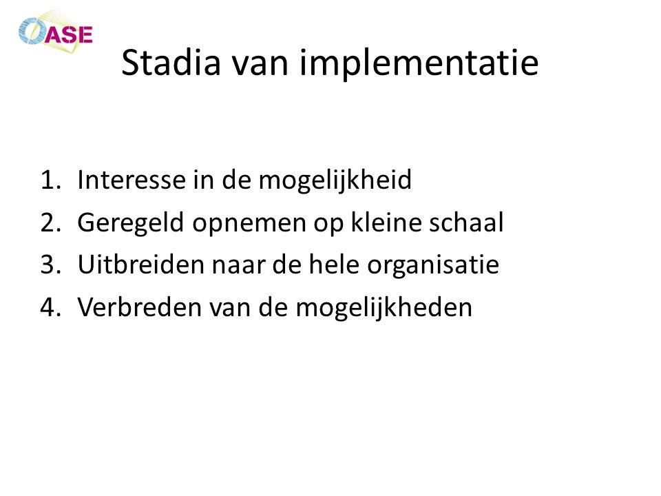 Stadia van implementatie 1.Interesse in de mogelijkheid 2.Geregeld opnemen op kleine schaal 3.Uitbreiden naar de hele organisatie 4.Verbreden van de mogelijkheden