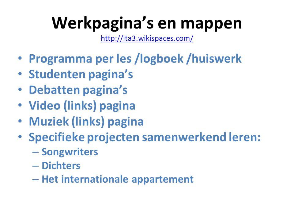 Werkpagina's en mappen http://ita3.wikispaces.com/ http://ita3.wikispaces.com/ Programma per les /logboek /huiswerk Studenten pagina's Debatten pagina's Video (links) pagina Muziek (links) pagina Specifieke projecten samenwerkend leren: – Songwriters – Dichters – Het internationale appartement