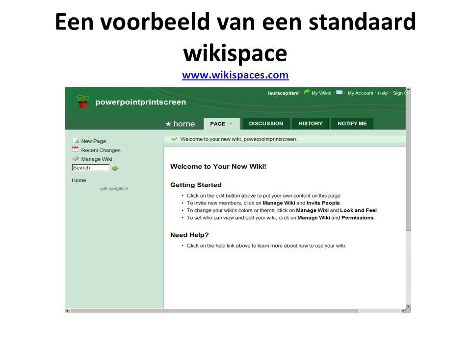 Een voorbeeld van een standaard wikispace www.wikispaces.com www.wikispaces.com