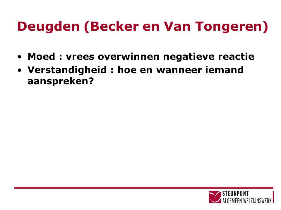 Deugden (Becker en Van Tongeren) Moed : vrees overwinnen negatieve reactie Verstandigheid : hoe en wanneer iemand aanspreken?