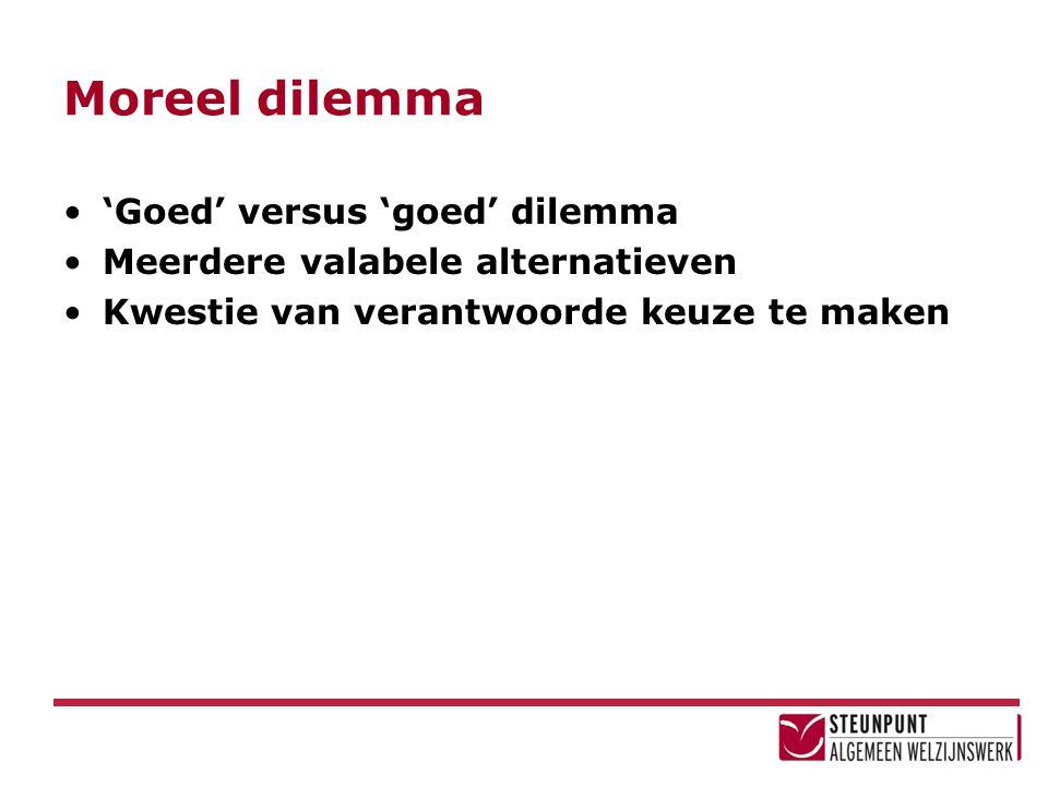 Moreel dilemma 'Goed' versus 'goed' dilemma Meerdere valabele alternatieven Kwestie van verantwoorde keuze te maken