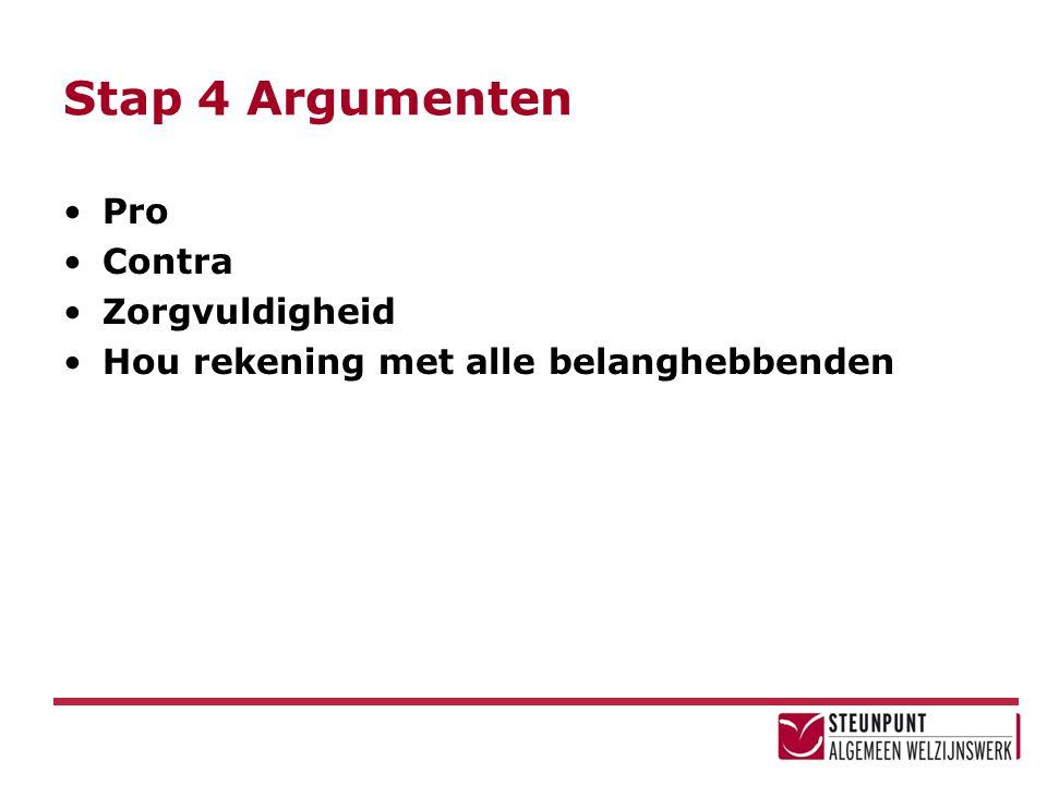 Stap 4 Argumenten Pro Contra Zorgvuldigheid Hou rekening met alle belanghebbenden