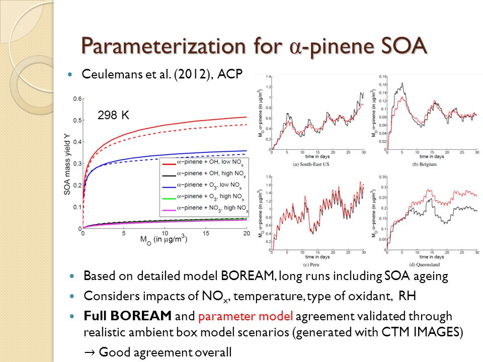 β -pinene ozonolysis: Sensitivity of SOA yield to chemistry Biradicals: important for SOA, lead to many functionalized species pinic acid important SOA contributor Some SCI-oligomers formed through SCI + molecular products (few %), though they don't increase SOA yields strongly in this case