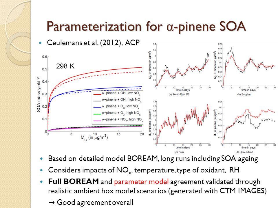 Parameterization for α -pinene SOA Ceulemans et al. (2012), ACP 298 K