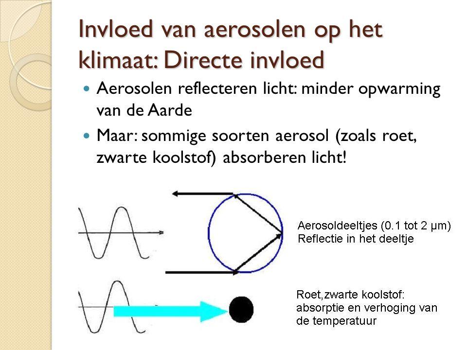 Invloed van aerosolen op het klimaat: Directe invloed Aerosolen reflecteren licht: minder opwarming van de Aarde Maar: sommige soorten aerosol (zoals