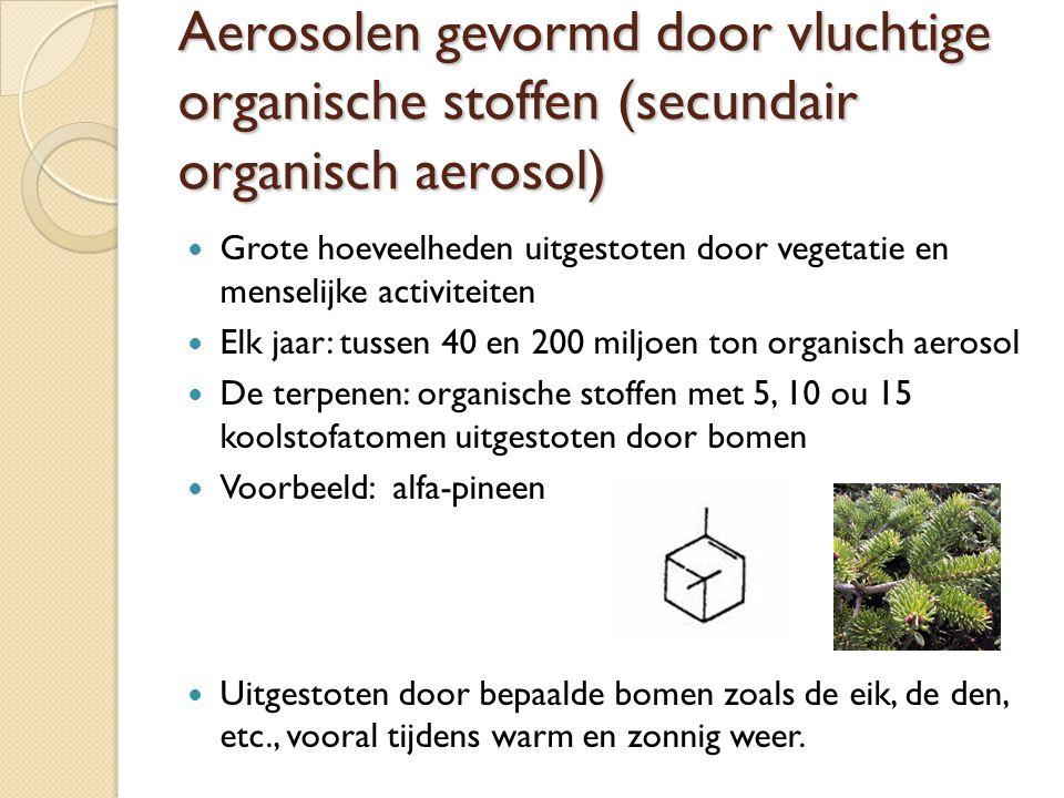 Aerosolen gevormd door vluchtige organische stoffen (secundair organisch aerosol) Grote hoeveelheden uitgestoten door vegetatie en menselijke activite