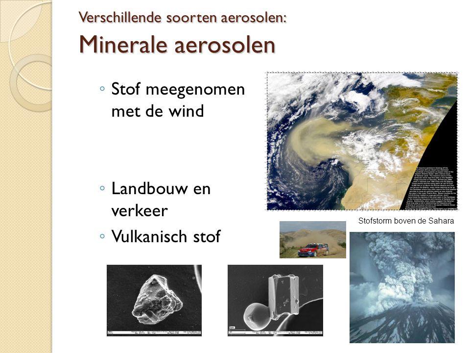 Verschillende soorten aerosolen: Roet Uit verbranding van fossiele brandstoffen (industrie en verkeer) of hout Bosbranden Roetdeeltjes door elektronenmicroscoop (bron: Müller & Zeitler (2005) Microsc.