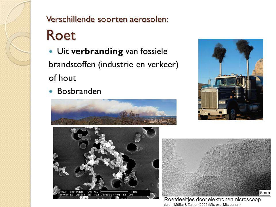 Verschillende soorten aerosolen: Roet Uit verbranding van fossiele brandstoffen (industrie en verkeer) of hout Bosbranden Roetdeeltjes door elektronen