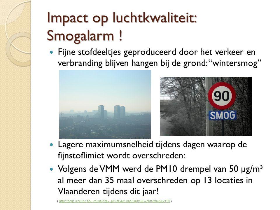 """Impact op luchtkwaliteit: Smogalarm ! Fijne stofdeeltjes geproduceerd door het verkeer en verbranding blijven hangen bij de grond: """"wintersmog"""" Lagere"""
