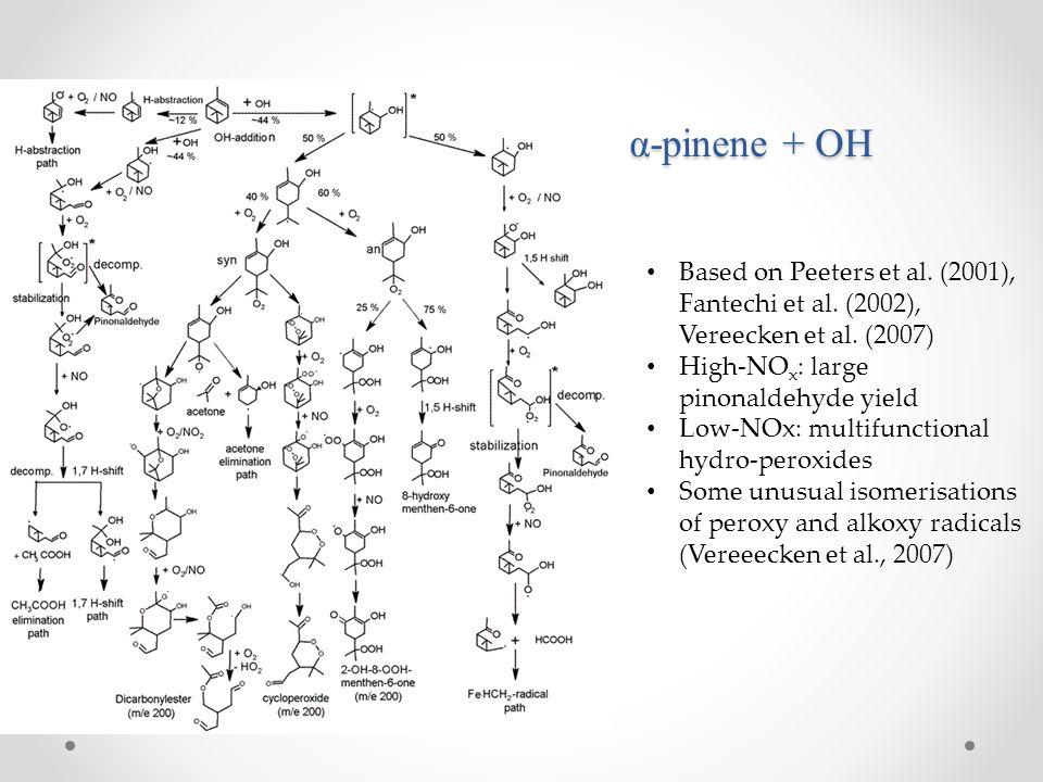 α-pinene + OH Based on Peeters et al. (2001), Fantechi et al. (2002), Vereecken et al. (2007) High-NO x : large pinonaldehyde yield Low-NOx: multifunc
