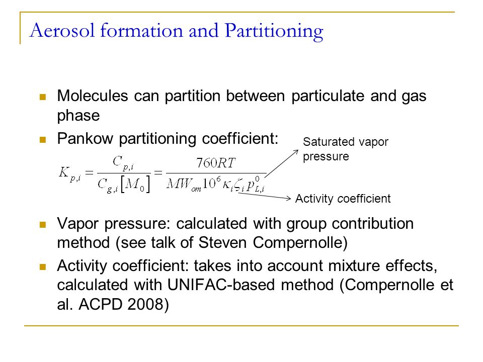 Model reduction: requirements Reduced model should be able to reproduce:  Inorganics (NO x, HO x, O 3 )  Small organics (CH 2 O, acetone, PAN)  Some important products: Pinic, pinonic acid, pinonaldehyde  SOA Validation through comparison with full mechanism Focus on atmospherically relevant scenarios