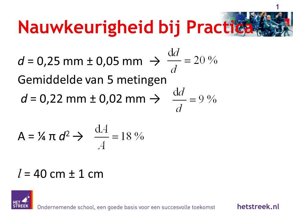 Nauwkeurigheid bij Practica d = 0,25 mm ± 0,05 mm → Gemiddelde van 5 metingen d = 0,22 mm ± 0,02 mm → A = ¼ π d 2 → l = 40 cm ± 1 cm