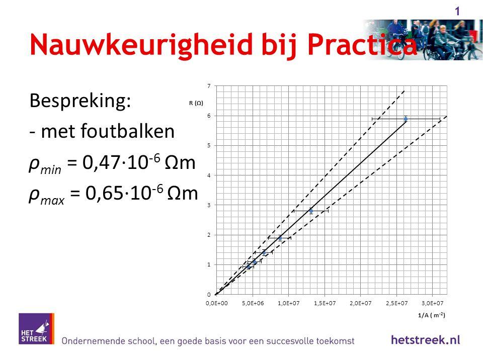 Nauwkeurigheid bij Practica Bespreking: - met foutbalken ρ min = 0,47·10 -6 Ωm ρ max = 0,65·10 -6 Ωm